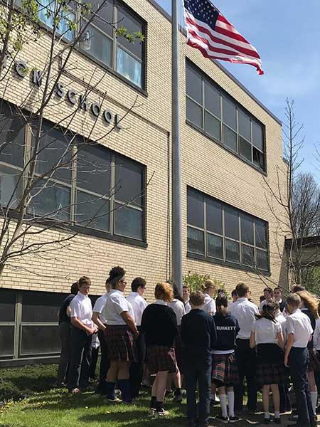 Seton-School-Students-Flagpole